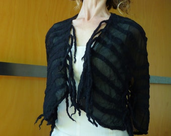 Black shrug / vest, bridal / wedding / evening wear, maternity wear, burlesque couture, steam punk, natural designer clothing