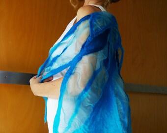 Aqua blue evening wrap / shawl, bridal wear, evening wear, formal wear, designer clothing