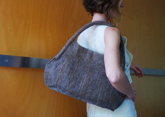 Brown embroidered tote bag, shoulder bag, designer handbag, felt bag, felted wool bag, eco friendly accessories, eco friendly gift
