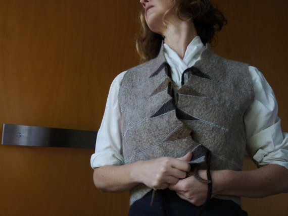 Oatmeal embroidered vest, size S/M, felted wool, natural designer clothing, eco friendly clothing, funky women's clothing, steam punk