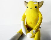 Cute Yellow Monster Plush -  Custom, designer fabric. Benjamin: Limited Edition