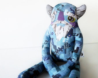 Stuffed Blue Monster Plush  - Gustav: Monocle-wearing, collage fabric designer toy