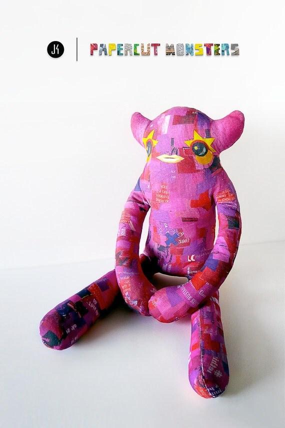 Pink Plush Monster, Handmade Designer Stuffed Toy - Charlene. Limited Edition