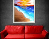On sale, Custom frame included for free. Costa Verde: Remember the beach. Abstract original painting. Ocrean at sunset