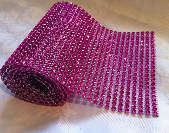 Hot Pink Plastic Diamante fabric strip, 30cms by 12cms (approx 12inches by 5inches)