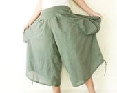 Cotton Comfy Wide Leg Pants in Gray Green