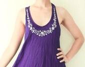 Clearance Sale, Mini Beach Dress/ Cotton Halter Top in Violet