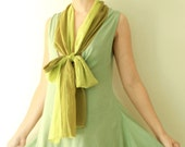 Neck Tie Cotton Dress in Green
