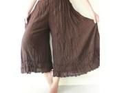 SALE..Gypsy / Yoga / Fisherman Pants Crinkle Cotton in Dark Brown