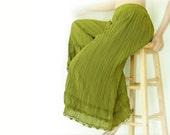 Gypsy / Yoga / Wide Leg Fisherman Pants Crinkle Cotton in Green