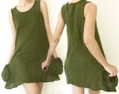 Sale 60% Off, Comfy Cotton Spring Summer Vest Top in Dark Green.