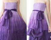 Sale 50% Off, Strapless Maxi Dress with A Sash in Violet.