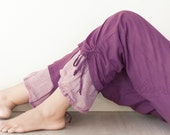 Comfy Drawstring Cotton Pants in Purple