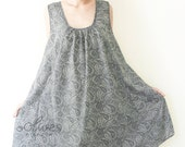 Sale.. Paisley Printed Rounded Neck Comfy Dress in Blue Gray, Large Size