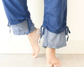 Comfy Drawstring Cotton Pants in Blue