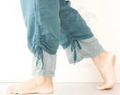 Comfy Drawstring Cotton Pants in Turquoise