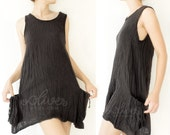 Sale 60% Off, Comfy Cotton Spring Summer Vest Top in Black.