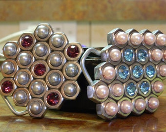 Handmade belt buckle made from Hex Nuts you get 2 buckles with crystals