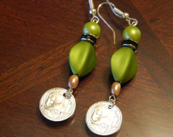 Walking Panda Earrings with olive green beads
