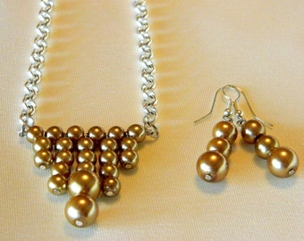 Set of earrings and handmade Gold tone glass pearl necklace  FREE SHIP