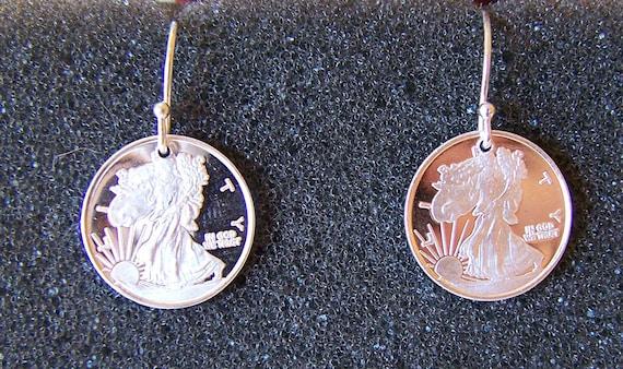 Walking Liberty Silver Dangle Earrings