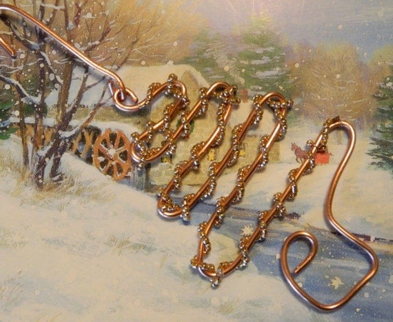 RECYCLED copper wire CHRISTMAS tree ORNAMENT