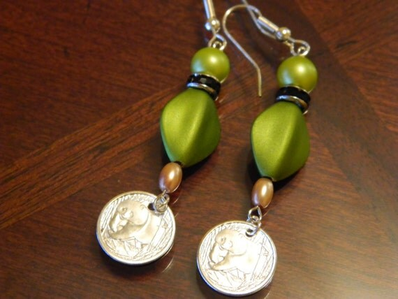 Walking Panda Earrings with olive green beads