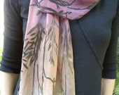 Hand Dyed Silk Devore Satin Scarf