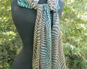 Hand Dyed Silk Devore Satin Scarf - Brown with Blue/Green dots
