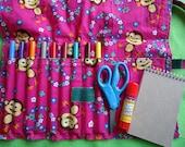 Monkey Travel Art Kit, Pink Art Kit, Monkey Travel Kit, Girls Art Bag, Girls Marker Bag, Girls Art Set,  Handmade travel bag