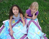 RESERVED for Kay Tinkerbell Twin/Best Friend Travel Blankets, Purple and blue girls blankets,handmade lightweight blankets, Disney blankets