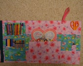 Girls Art Travel Kit, Pink and Green Art Kit, Flowers and Frogs Activity Bag, Handmade Travel Kit, Girls Activity Kit