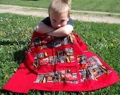 Lightning McQueen Blanket, Boys Cars blanket, Activity blanket, red disney blanket, lightweight travel blanket, Blanket with pockets