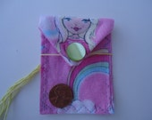 Girls Mini Coin Purse, Princess Jewelry Bag, Pink Earring Bag, Rainbow Bag, Necklace Bag, Perfect for party favors, money, READY TO SHIP