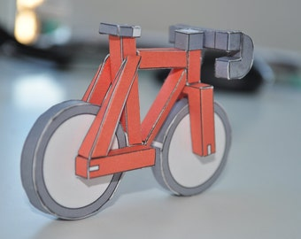 RED paperbikes v2 - Fixed gear paper bike - papercraft bicycle model kit
