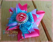 Large Super Girl Hero Boutique Hairbow with Bottle Cap Center