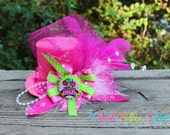 Birthday Girl Boutique Fascinator Mini Top Hat with Feathers Beads Bow and Bottle Cap