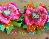 Kitty Inspired Bottle Cap Bright Tropical Polka Dot Colors Double Pigtail Bow Set