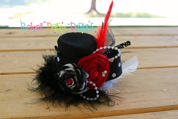 OTT Over The Top Mini Top Hat Fascinator Cruella Inspired Vintage Fabric Rosettes Flowers Feathers Marabou Extra Fancy