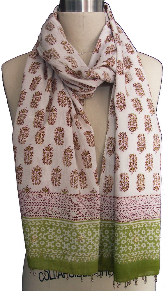Hand block printed scarf - lime booti - ON SALE