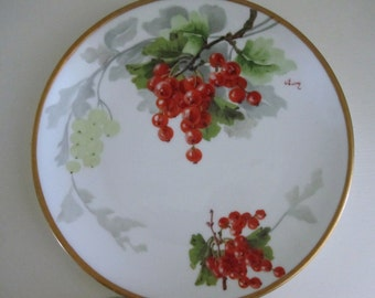 Lanternier Limoges Antique Berries Plate Signed, French Country Farmhouse Hand Painted Decorative Plate, Red Currant