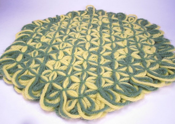 Vintage Crocheted Placemats Set of Eight 1970s, Granny Chic Crochet, Retro Home Decor