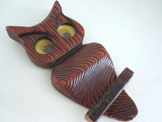 Wooden Owl Wall Decor : Vintage wooden owl wall plaque s retro decor small