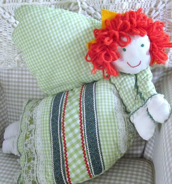 Vintage Plush Angel Pillow, Redhead Stuffed Angel, 1980s Handmade Redhead Angel Doll
