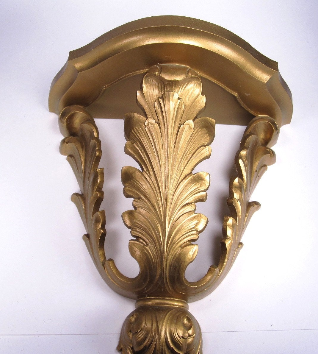 Wall Sconces Shelf : Vintage Homco 1970s Wall Shelf or Sconce Gold Wall Decor