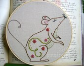 Embroidery PDF Pattern Autumn Fall Mouse and Flowers