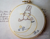 Embroidery PDF Pattern  Bunny Trio Three Woodland  Bunny Designs Moon Boat Flowers