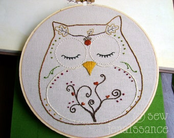 Embroidery Pattern PDF Owl Autumn and Fall Ohli the Owl