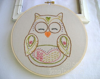 Embroidery Pattern PDF Owl Autumn and Fall Ooni Too