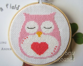 Pink Owl Heart  Cross Stitch  PDF Pattern